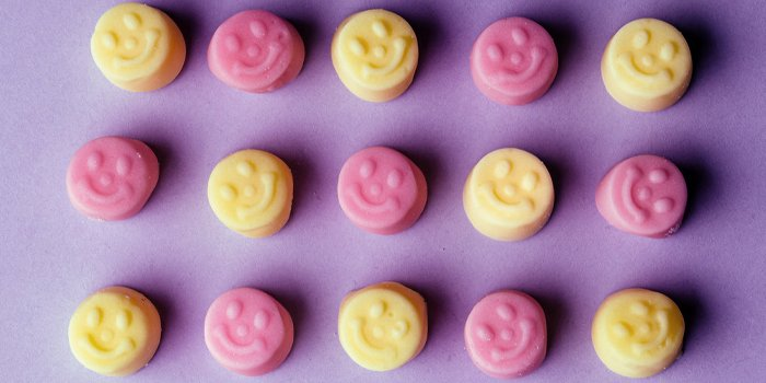 gummy tablets with smiley faces